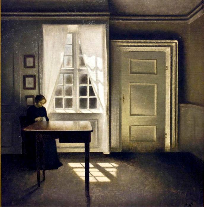 Vilhelm Hammershøi: Interiør med kvinde. 1901. Detroit Institute of Art