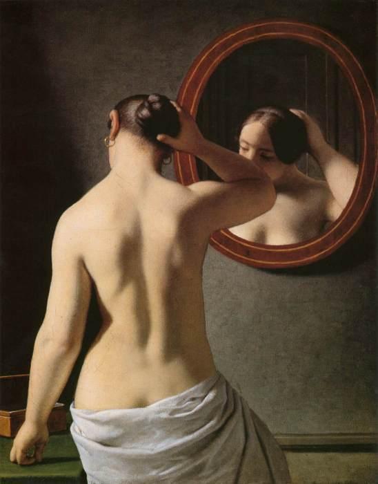 7_C W Eckersberg, Nøgen kvinde sætter sit hår foran spejl, 1841