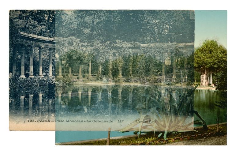 Bettina Camilla Vestergaard: Park Study Paris - Cairo, 2013, Collage fra fundne billeder, 38 x 28 cm, arkivholdbart inkprint